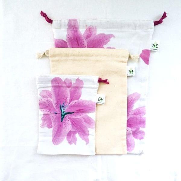 3 sacs en vrac courses zéro déchet motifs fleurs violine