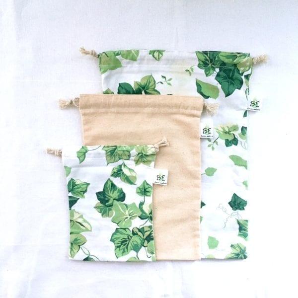 3 sacs en vrac courses zéro déchet motifs fleurs Lierre