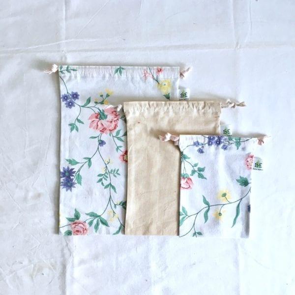 3 sacs en vrac courses zero dechet motifs Fleurs des prés