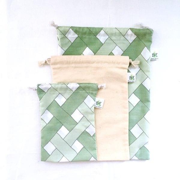 3 sacs en vrac courses zéro déchet motifs bambou