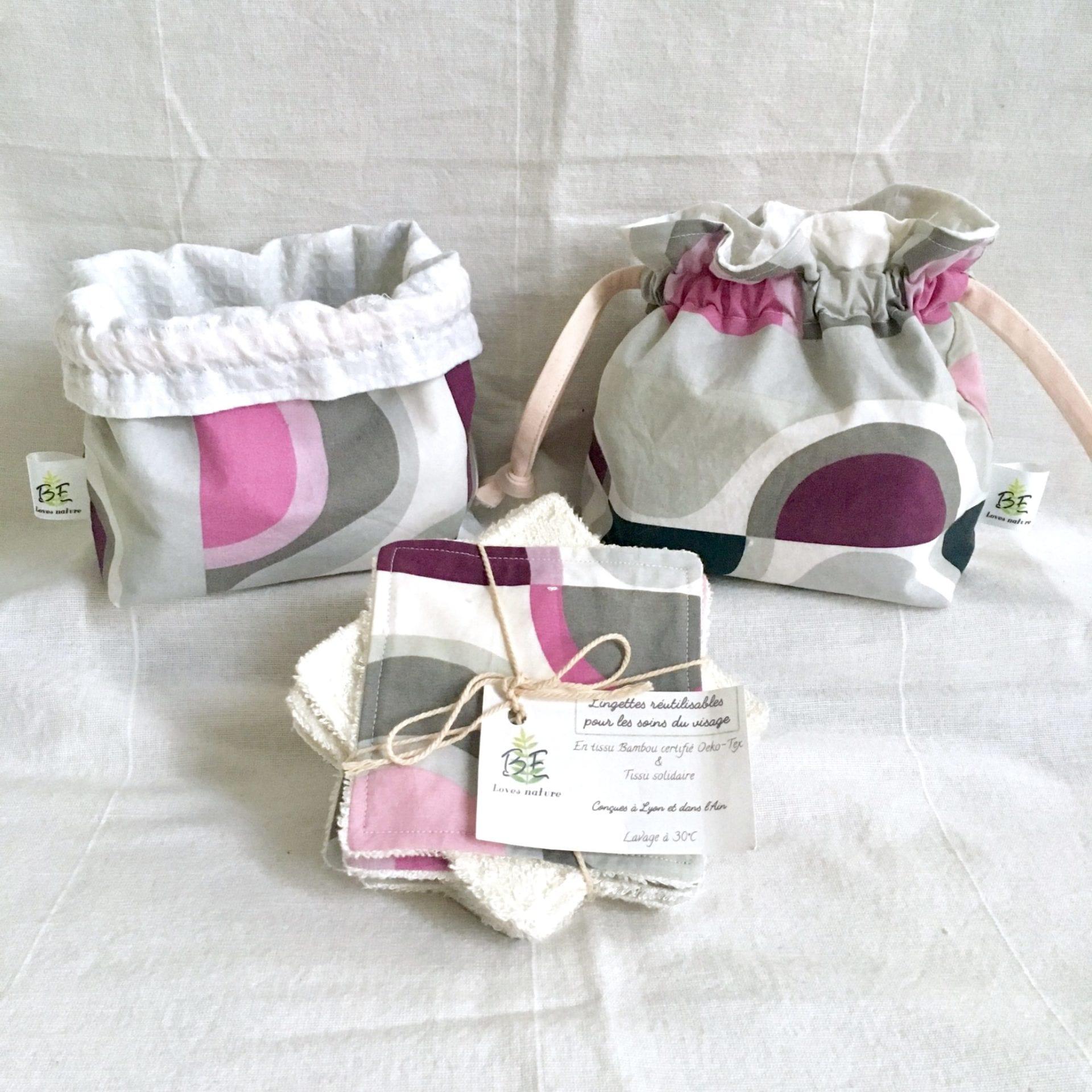 Cotons lavables + Pochette de Transport & Rangement - Géométrique