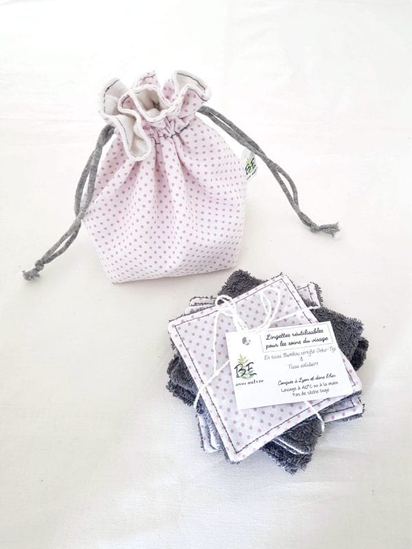 Cotons lavables réutilisable + Pochette de Transport & Rangement blanc pois roses bambou gris