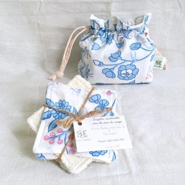 Cotons lavables zéro déchet + Pochette de Transport & Rangement- fleurs bleues