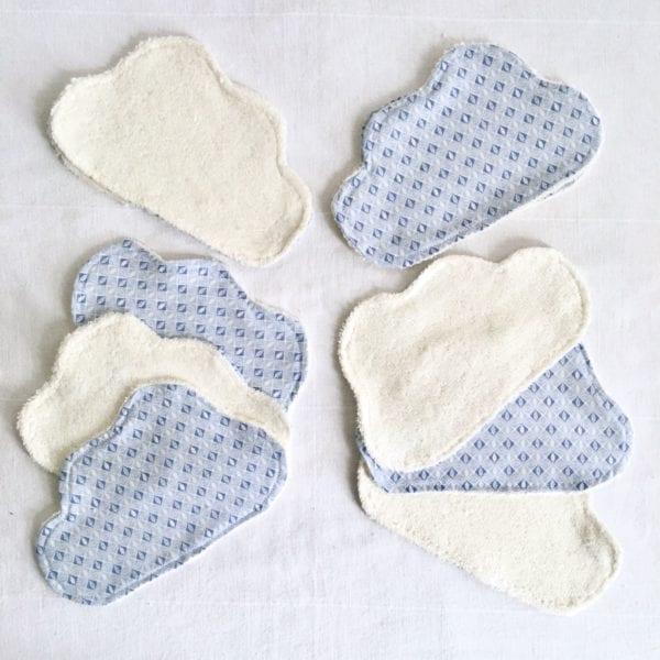 Lingettes lavables bébé nuage bleu- lot de 10