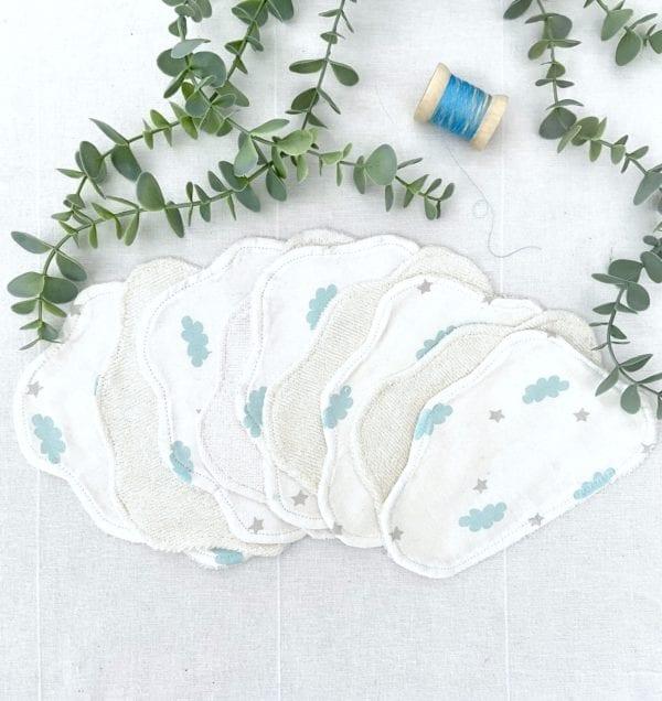 Lingettes lavables bébé nuage - lot de 10