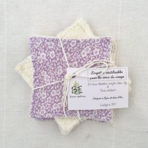 Lingettes lavables lot de 5 violet petites fleurs blanches