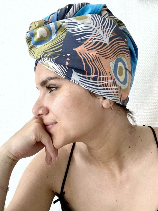 Bonnet de soin capillaire Paon Bleu