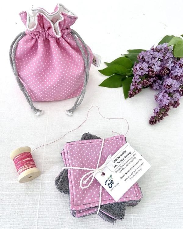 Cotons lavables + Pochette de Transport & Rangement- rose à pois