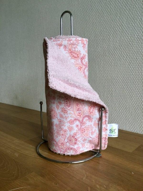 5 Essuie-tout lavables zéro déchet Cachemire rose en lot