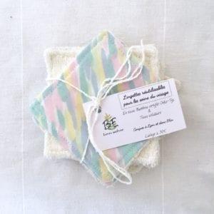 Lingettes démaquillantes lavables écologiques lot de 10 Pastel