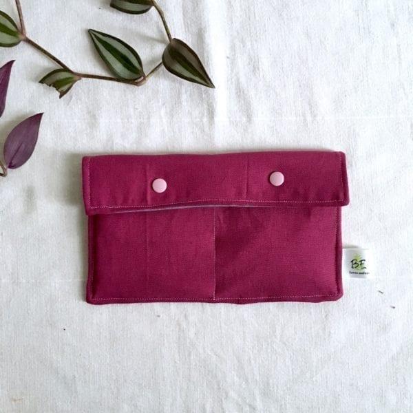 Pochette imperméable double rangement cosmétique zero dechet violette