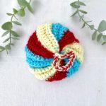 Tawashi boule rouge jaune bleu