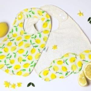 Bavoir lavable bébé en éponge de bambou Bio fait artisanalement en France motifs Citron