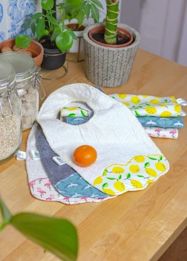 Bavoirs - Bavoir lavable pour bébé en éponge bambou absorbante et coton enduit imperméable