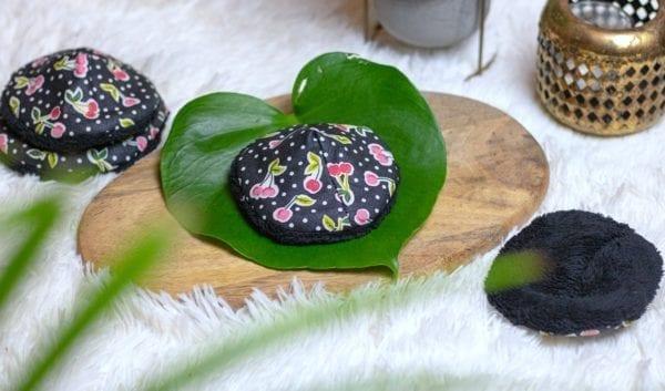 Coussinets d'allaitement lavables Nuit en bambou bio noir pour mamans allaitantes