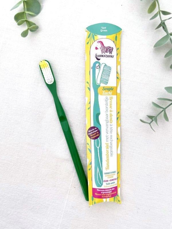 Brosse à dents écologique verte