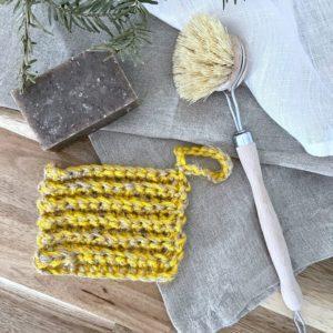 Kit Vaisselle zéro déchet tawashi jaune